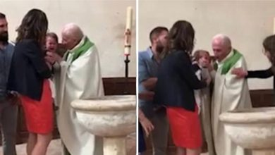 Photo of Vídeo: Sacerdote se molesta y agalletea' bebé en bautizo