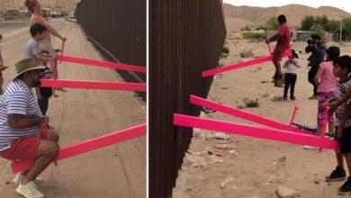 Photo of Mexicanos «destruyen» el muro fronterizo entre México y EEUU con «sube y baja» que unen ambos países.