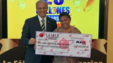 Photo of Leidsa entrega RD$25 millones a ama de casa ganadora del Súper Kino TV.