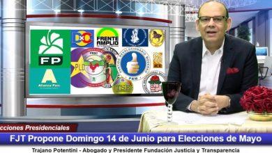 Photo of FJT propone el domingo 14 de junio para celebrar elecciones presidenciales de mayo por Coronavirus.